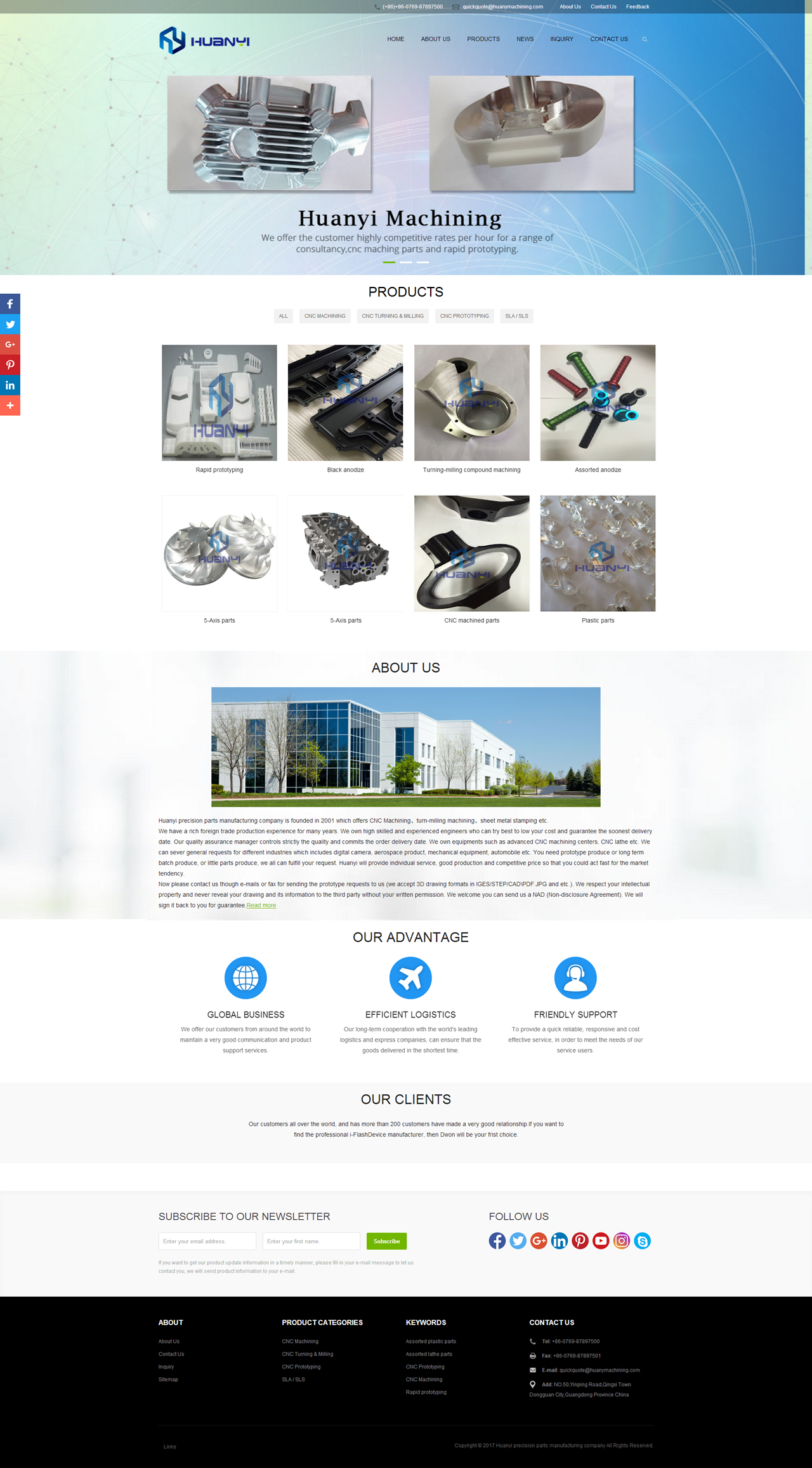 Huanyi precision parts manufacturing company