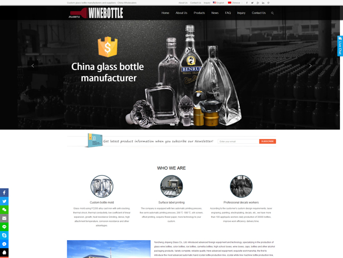 Custom glass bottles manufacturers and suppliers